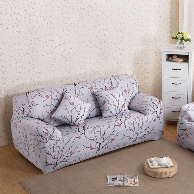 Bon Plum Blossom Printed Sofa Cover Spandex Stretch Couch Cover Elastic Corner Sofa  Furniture Protector Slipcover For