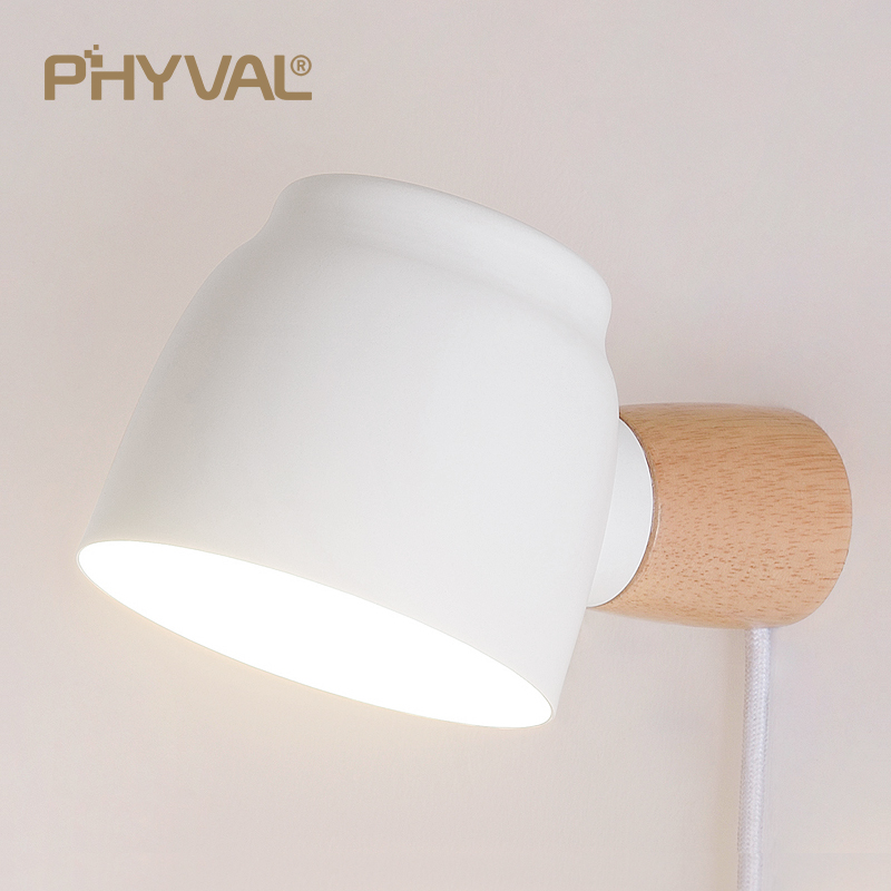 Wall Lamp Reading Light 360° Rotatable With Switch Braided Wire Plug Frosted Iron Lamp Shade Solid Wood Lamp Pole E14 Lamp Head
