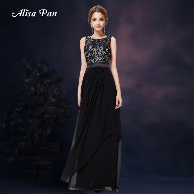 2017 Cheap Fashion Sparkly Lace black red long one piece dress ...