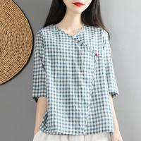 Chinese style retro cotton and linen shirt women v neck loose summer half sleeved plaid top blouse