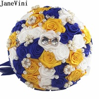 JnaeVini Royal Blue Flowers Wedding Bouquets With Crystal Yellow Pearls Bridal Brooch Brides Bridesmaids Satin Flower Bouquet