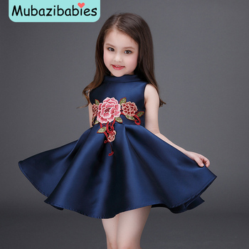 2016 Spring and Summer Girls Dress Chinese style Flower Embroidered Princess Dress Baby Party Frocks Designs  Boutique Clothing одежда на маленьких мальчиков