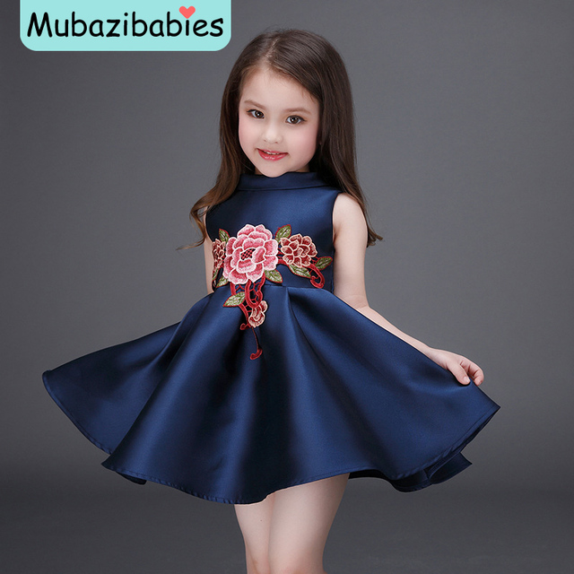 67ebe0ed5 2016 Spring and Summer Girls Dress Chinese style Flower Embroidered ...