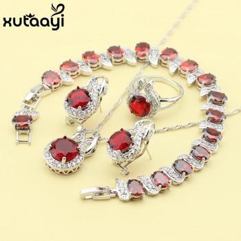 Rojo creado granate moda recubrimiento de plata esterlina juegos de joyas para mujer collar impecable anillo pendiente pulsera