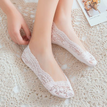 New Arrival Women Girl Silica Gel Lace Boat Socks Invisible Cotton Sole Non-slip Antiskid Slippers Soft Anti-Slip Sock Meias E05(China)