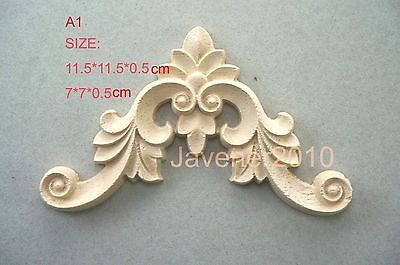 A1-7x7x0.5cm Wood Carved Corner Onlay Applique Unpainted Frame Door Decal Working Carpenter Flower