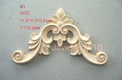 A1-7x7x0.5cm Wood Carved Corner Onlay Applique Unpainted Frame Door Decal Working Carpenter Flower