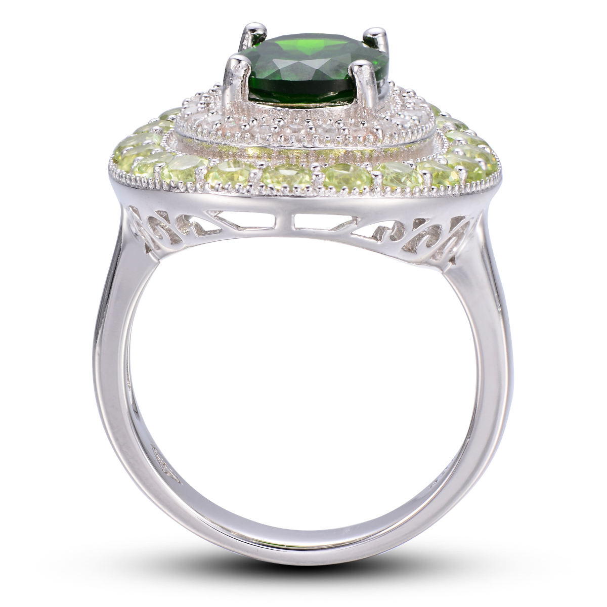 HUTANG 4.406ct Natural Chrome Diopside & Peridot Solid 925 Sterling Silver Ring Gemstone Fine Jewelry Women's цена и фото