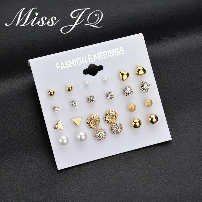 Miss JQ 12 Style Round Square Heart Ball Alloy Crystal Pearl Stud Earrings For Women Cute Earrings Sets Jewelry boucle d'oreille