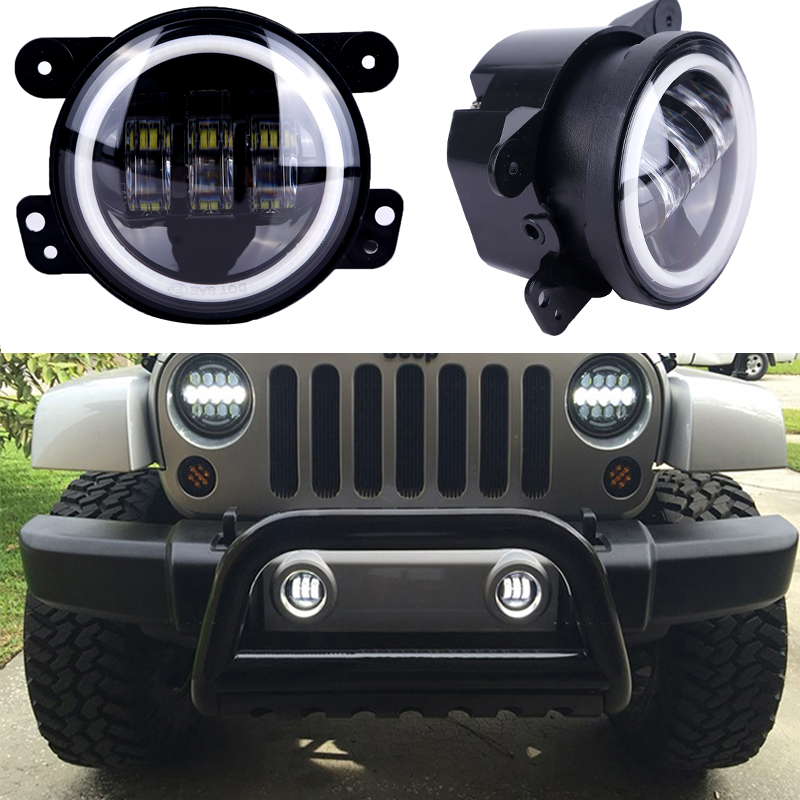 For Jeep Wrangler JK Led Fog Lights Lamp Lens 4 Inch Round Fog Lights Headlight DRL Halo Lamp For Jeep for Harley Dodge black chrome round 75w high low beam drl led auto headlight driving fog lights for jeep wrangler hummer h1 h2 offroad