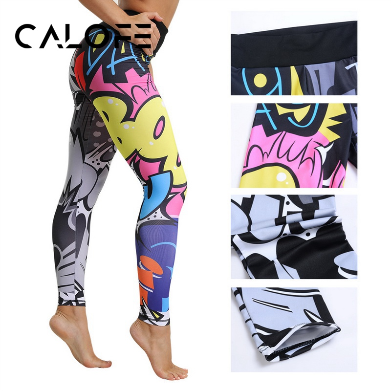 2019 Yoga Pants Women High Waist Print Sports Legging Fitness Gym Running Tights Female Sports Athletic Breathable Legin Pants 1