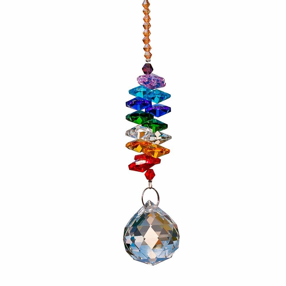 H & D 24 cm Kronleuchter Kristalle Ball Prism Anhänger Regenbogen Maker Chakra Cascade Suncatcher