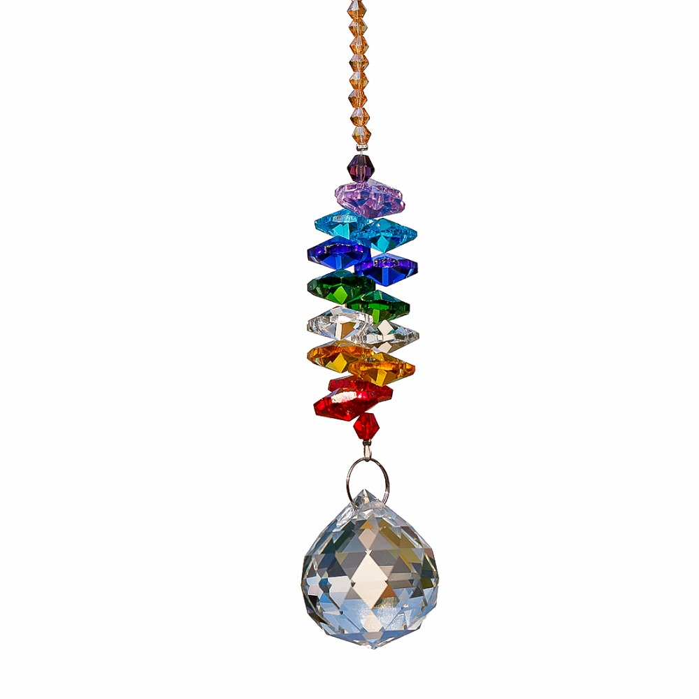 H&D 24cm Chandelier Crystals Ball Prism Pendant Rainbow Maker Chakra Cascade Suncatcher