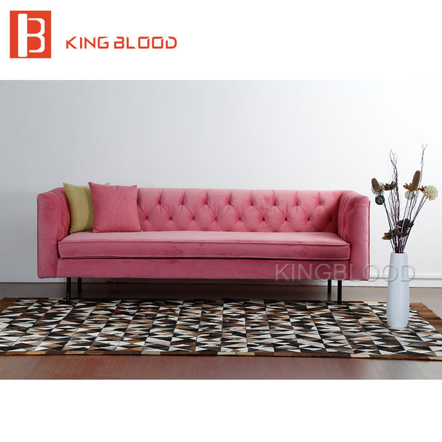 Online Shop modern wedding pink velvet fabric 3 seat couch living ...