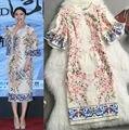 2014 новая коллекция весна женщины flare рукава аппликации цветы шаблоны печатных взлетно-посадочной полосы жаккардовые платье люксовый бренд оболочка старинные платья