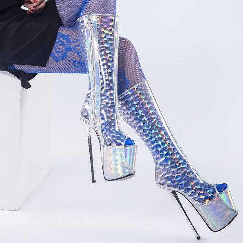 Toe Sexy Plate Printemps Dames Femme Bottes 19 Transparent Transparent Chaussures Mi Cm forme Peep Super Talons mollet Haute Pour embroidered Femmes Été 40OnCz0