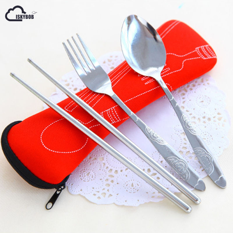 ISKYBOB Popular 3X Fork Spoon Travel Stainless Steel Cutlery Portable Bag Picnic