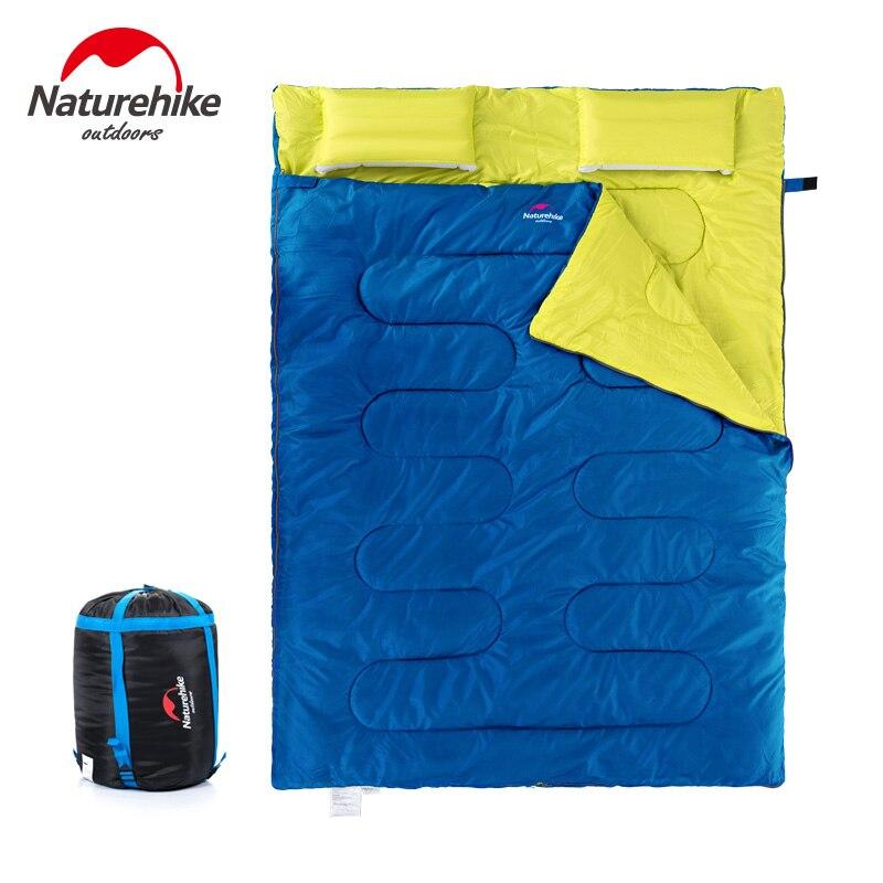 Naturehike Новый хлопковый спальный мешок для 2 человек, спальный мешок для кемпинга с подушкой, спальный мешок для полудня - 2