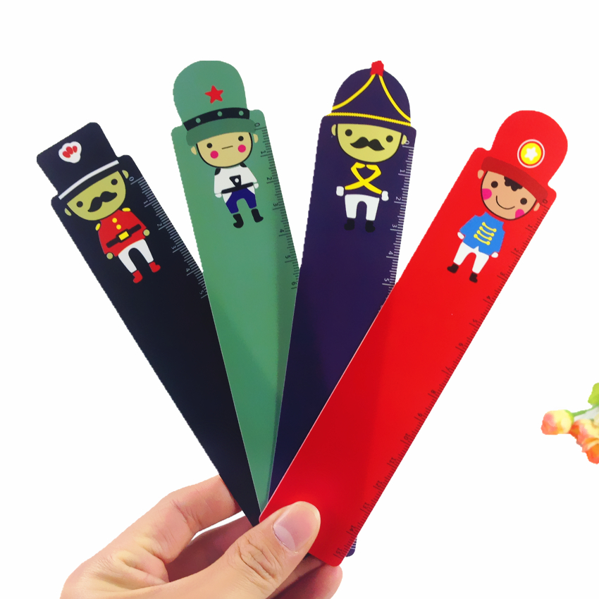 40pcs/lot Cute Cartoon Soldier Doll Series Plastic Bendable Ruler Measuring Straight Ruler Tool  For Student School Stationery