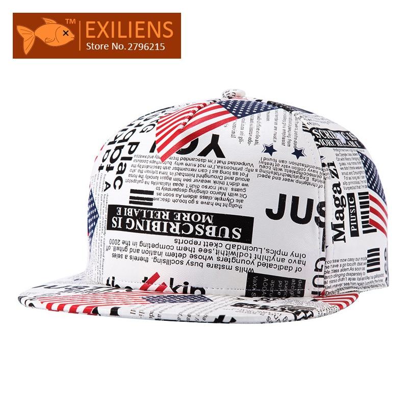 [EXILIENS] 2017 Fashion Brand Baseball Cap Leather Snapback Caps Newspaper Hip-hop Gorro Chapeau Snap Back Hats For Men Women