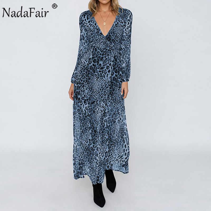 Nadafair леопардовое Макси платье женское шифоновый пояс с длинным рукавом элегантное вечернее платье винтажное с животным принтом сплит сексуальное длинное платье 2019
