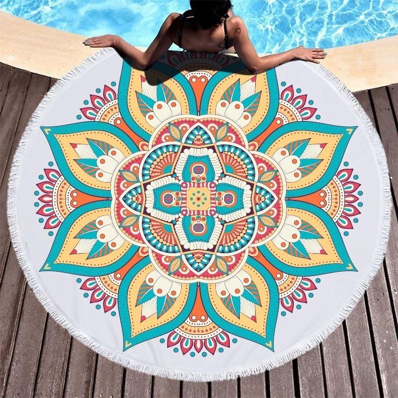 Lotus Mandala Printed Round Beach Towel Microfiber Towel Adults Summer Yoga Large 150cm Toalla Bath Colorful Serviette De Plage-in Bath Towels from Home & Garden