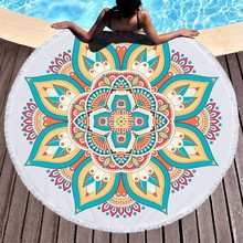Toalla De playa redonda con estampado De Mandala De loto, Toalla De microfibra para adultos, Yoga De verano, grande, 150 cm, Toalla De baño colorida, Toalla De playa