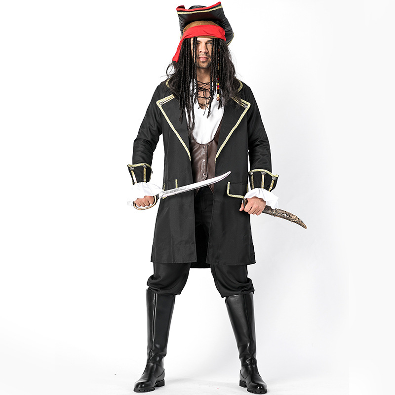 Deluxe Adult Men's Rugged Sea Pirate Captain Buccaneer Halloween Party Costume