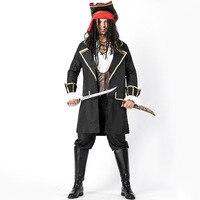 Делюкс взрослых Для мужчин прочный морской пират капитан Buccaneer Хэллоуин Детский костюм для вечеринок