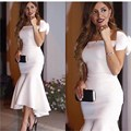 New Branco Vestidos de Noite Sereia 2016 Vestido Boat Neck Vestidos Formais Festa À Noite Para As Mulheres vestido de festa Frete Grátis