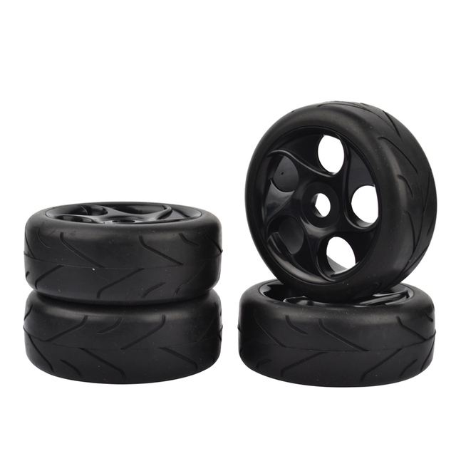 1:8 RC Off Road Car Buggy Tires Tyre Arrow Thread Pattern and Wheel for 1/8 HSP HPI Black 4pcs