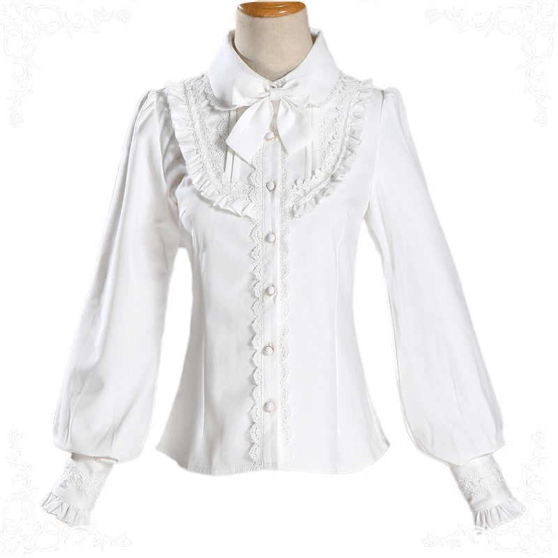 PYJTRL Новый Осень Зима Толстая теплая рубашка Сладкая Лолита темперамент кружево отложной воротник Slim Fit Blusas кимоно женские топы