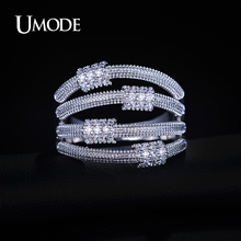 UMODE Series Artistic 4 Metal Lassos Luxury Rings For Ladies White Gold Color Fashion Jewelry For