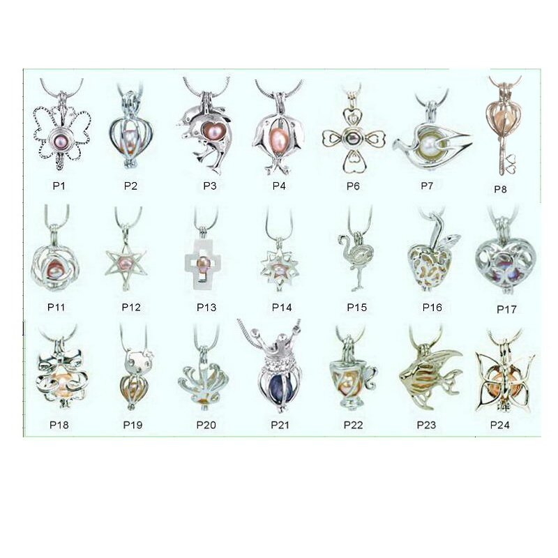 50pcs lot Mixed Designs 18KGP Locket Cage Pendant Fitting DIY Pearl Gem Bead Pendant Locket Mounting