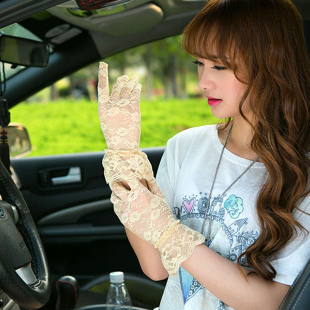 New Sexy Lady Sun Protection Hand Women Hollow Flower Lace Gloves Full Finger