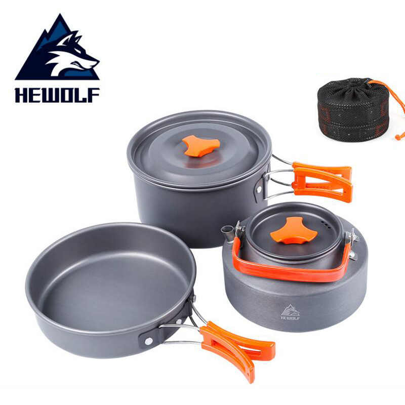 Camping Cooking Set Cookware Kit Outdoor Backpacking with Orange Handle Teakettle Saucepan Cup Fork Cooking Pan for Fishing Mountaineering Outdoor Supplies 1Set