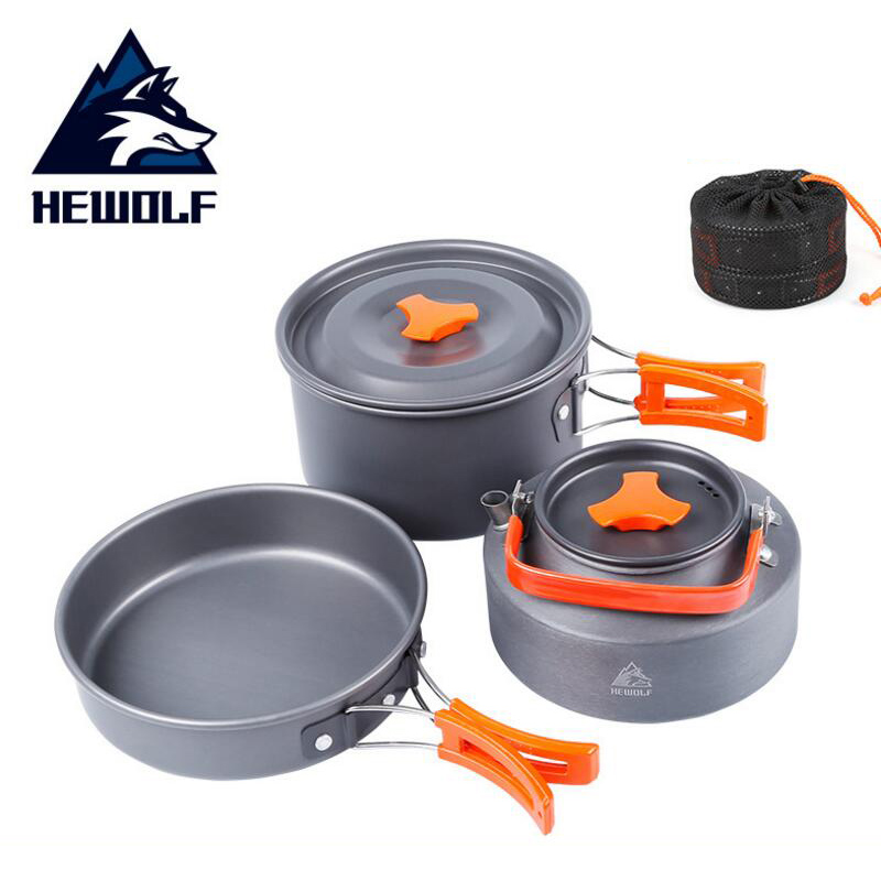 Outdoor Camping Cookware Pot Frying Pans Picnic Set Handle Pan Camping Picnic Tableware For Tourists Tea Kettles For Gas Cookers
