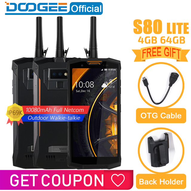 IP68/IP69K Walkie talkie DOOGEE S80 Lite Mobile Phone Wireless Charge NFC 10080mAh 12V2A  5.99 FHD Helio P23 Octa Core 4GB 64GB
