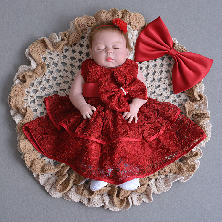 2Pcs Set Summer Sleeveless Baby Girl Baptism Dress Beaded Bow Newborn Infant Girl Wedding Party Gown Christening Dresses(China)