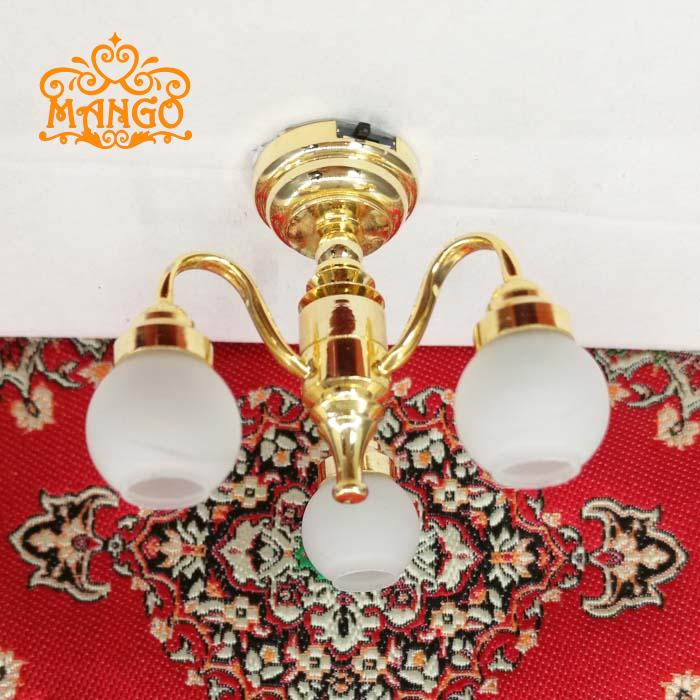 Free Shipping 1:12 Dollhouse Miniature Furniture Brass Electric Chandelier 3 Arm Lamp Ceiling Light with 24k Gold Plated Led
