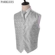 3pc Men's Dress Vest Necktie Pocket Square Set Paisley Jacquard Waistcoat Vest Handkerchief Party Wedding Tuxedo Vest Suit Set(China)