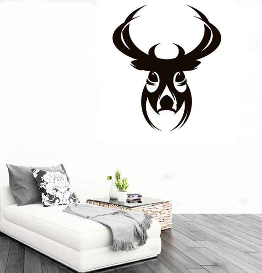 CaCar New DIY Design Deer Head Wall Sticker Abstract Animal Series - Custom vinyl wall decals deer