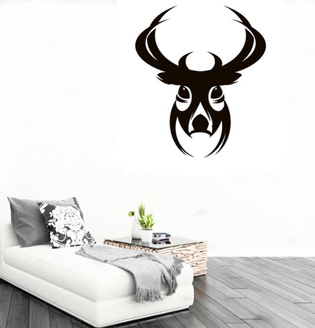CaCar New DIY Design Deer Head Wall Sticker Abstract Animal Series - Vinyl wall decals abstract