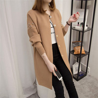 Long Cardigan Female 2019 Spring Autumn New Long Sleeve Casual Beading Cardigan Women Sweater Knitted Jacket Elegant Tops R778