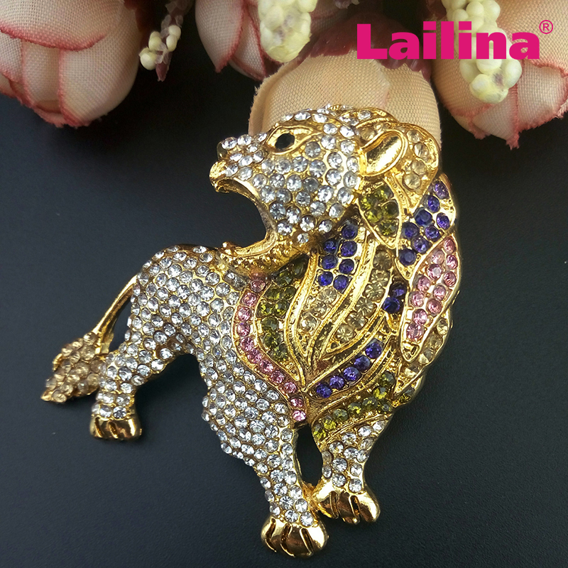 Crystal Gold Tone Multi Color Brown Lion Brooch Active Wordlife Austrian Animal Broach pin Free shipping