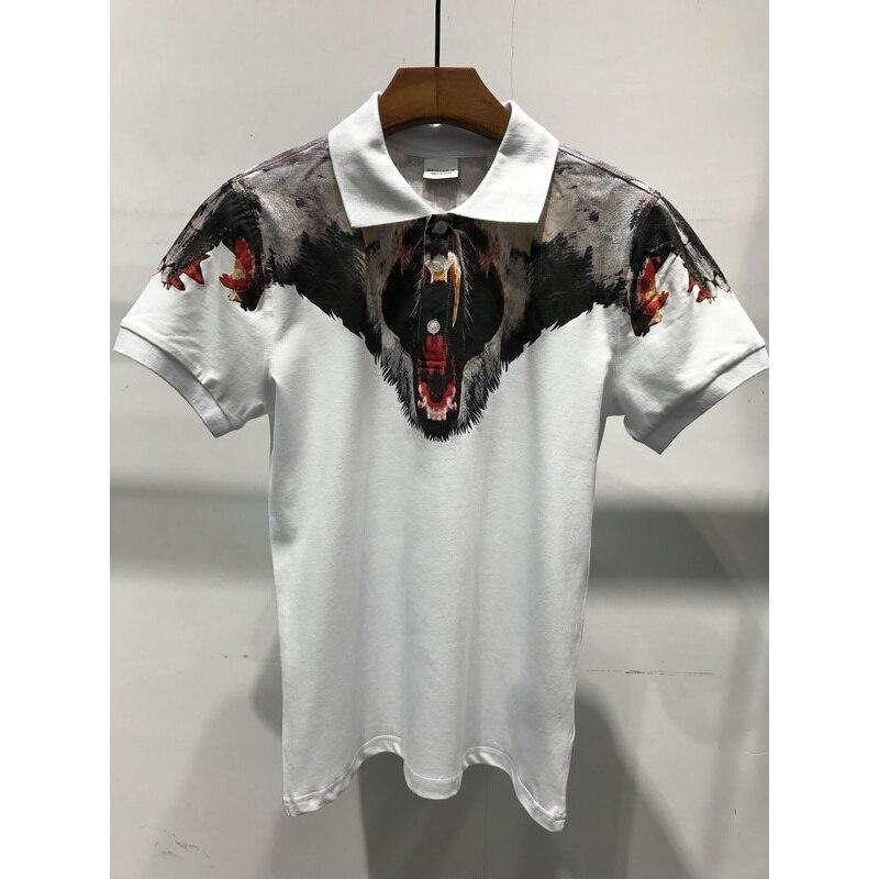 Original Quality real photo Marcelo Burlon Shirt Men printed Animals Snake Milan Feather wings shirt bears Streetwear polo Shirt