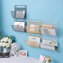 Creative Wall Mounted Shelf Nordic Iron Net Magazine Newspaper Hanging Display Storage Holders Living Room Decoration Racks