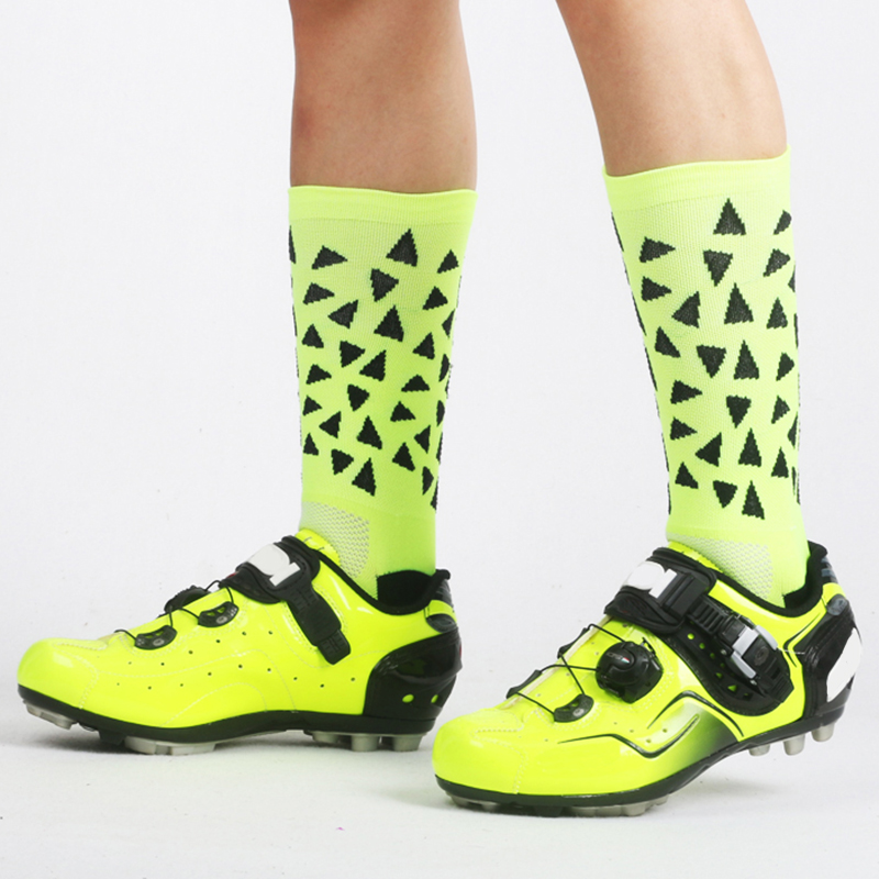 New Cycling Socks Stylish Running Riding Sports Sock Mountain Road Bike Bicycle Breathable Compression Socks Triangle Pattern