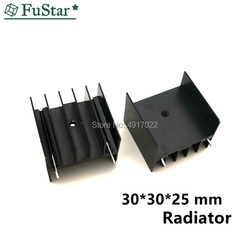 5pcs Black Aluminium TO-220 30x25x30 Mm Heatsink TO 220 Heat Sink Transistor Radiator TO220 Cooler Cooling 30*25*30MM With 2pin