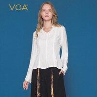 VOA V шеи Для женщин футболка весна 100% шелк одежда Для женщин рубашки с длинным рукавом Топы плюс Размеры офисные футболка blusas B820